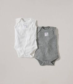 Bee Essentials Set of 2 Sleeveless Bodysuits: Color - Heather Grey