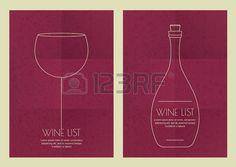 Set di linea astratta illustrazione, bicchiere di vino e una bottiglia su sfondo carta grunge. Concetto per menu del bar, partito, bevande alcoliche, vacanze celebrazione, cocktail o la lista dei vini, flyer, poster design. photo