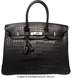 Hermes 35cm Matte Black Porosus Crocodile Birkin Bag with PalladiumHardware. H Square, 2004. Condi...