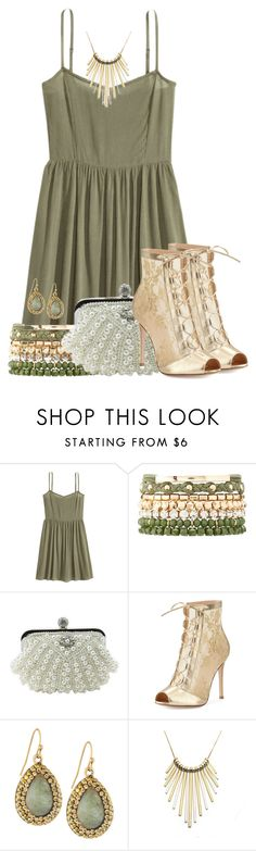 """""""Gold, Green and White"""" by tlb0318 on Polyvore featuring Charlotte Russe, Gianvito Rossi, Panacea and Zara Taylor"""