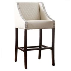 Noble House Rylan Ivory Quilted Bonded Leather Bar Stool, Beige