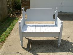 Twin Headboard bench from My Repurposed Life blog I plan to make this with Aunt Mayme's old twin waterfall bed!