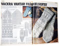 Beskrivningen på vantarna som publicerades första gången i Icakuriren 1990 har sitt ursprung i ett par vantar från förra sekelskiftet. Men de är lika aktuella i dag. Notera detaljen med en gubbe på... Knitted Mittens Pattern, Fair Isle Knitting Patterns, Knit Mittens, Knitting Charts, Mitten Gloves, Leg Warmers, Crafts To Make, Shibori, Knit Crochet
