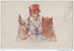 Chien. illustrateur Xavier Sager. Great Dane Grand Danois Dogge Femme. Terrier. Hunde, Cane, Dog. Old Dog Postcard - Delcampe.net