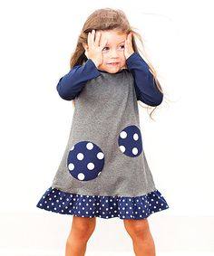 Take a look at this The Matching Dots Navy & White Abby Ruffle Dress - Infant, Toddler & Girls on zulily today!
