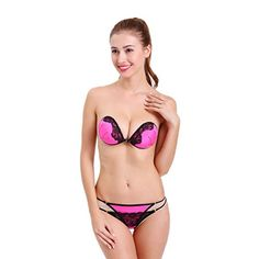 e99c04a3d0b Aidoo Reusable Invisible Strapless Adhesive push Bra Cup C Rose Red      Learn more by visiting the image link.