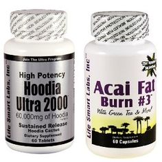 Combo #ACAI Fat Burn #3 and Hoodia Ultra 2000 #Diet Pill with Green Tea, Grapefruit, Apple Cider, and more for #Weight Loss and 2000mg of Hoodia