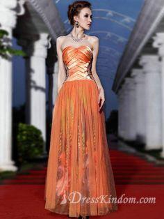 Modern A-line Sweetheart Floor-length Organza Orange Prom Dresses [10124942] - US$125.99 : DressKindom