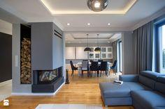 DOM W PRZYTULNYCH SZAROŚCIACH - Średni salon z kuchnią z jadalnią, styl nowoczesny - zdjęcie od DALMIKO DESIGN Pracownia Projektowa
