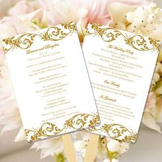 Wedding Program Fan Tropical Damask Gold