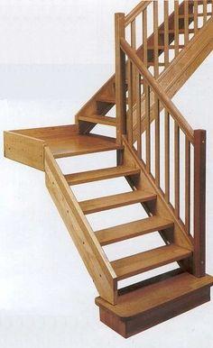 Offene holzwangentreppe gel nder mit edelstahlst ben - Hacer escaleras de madera ...