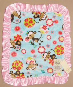 My Blankee Aqua Monkey Security Blanket Velour Lovey Baby Pink Satin Ruffle NWT #MyBlankee