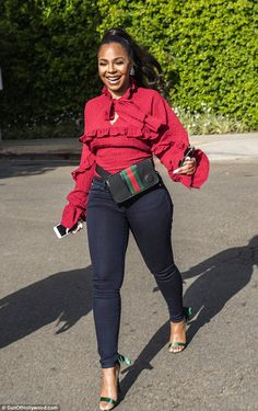 Ashanti is all smiles on coffee run in West Hollywood : Put on a smile: Ashanti was beaming as she started her day in West Hollywood. Girl Outfits, Cute Outfits, Fashion Outfits, Fashion Fashion, Black Women Fashion, Womens Fashion, Most Beautiful Black Women, Beautiful Legs, Red Blouses