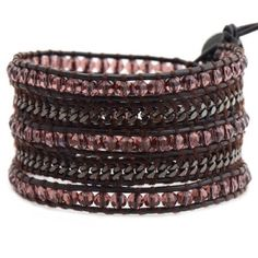 "Victoria Emerson Bracelets Only 1 left in stock!   5 wrap bracelet with burgundy crystals and gunmetal base metal chain on brown leather.  100% hand made with care. Unbelievable attention to detail.  Each bracelet has one clasp with closures at 34"", 35"" and 36"". Comes with a Victoria Emerson Pouch & Engraved Victoria Emerson Nickel-Free Clasp. Jewelry Bracelets"