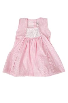 Classic pink-striped dress with a square neck and contrasting intricate white hand-smocked bodice. Fun and elegant ethical kids clothing for the little girl. Nautical Summer Dresses, Pastel Shades, Ethical Clothing, Spring Summer 2018, Smocking, Sewing Projects, Floral Prints, Color, Clothes