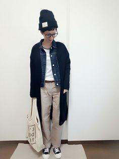 こんにちは☀ もうすぐ3月✨冬が終わりますね ワクワク ニット帽×メガネのコーデ好きです