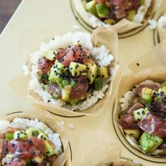 Ahi Sushi Cups | Skip the mat-and-roll routine and keep sushi night simple with these easy-to-make and impressive-to-serve cups. For a wow-worthy party app, try this recipe in mini muffin cups to create perfectly poppable bites | Cooking Light
