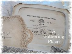 Old Trays with vintage French Ephemera Graphics. Love making newer look older! French Farmhouse and Cottage Decor rule! :)
