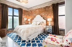Robert Watson Lofts-363-369 Sorauren Ave #412 | Rare 1000+ sf 1 bedroom + office + 2 bath NW corner loft featuring original exposed brick walls, 10 ft high ceilings & custom polished concrete floors. | More info here: torontolofts.ca/robert-watson-lofts-lofts-for-rent/363-369-sorauren-ave-412 Exposed Brick Walls, Exposed Concrete, Polished Concrete, Concrete Floors, Cabinet Shelving, Storage Shelves, Toronto Lofts, Lofts For Rent, Bedroom Office