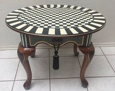 Whimsical Handpainted Side Accent Table with Mackenzie Childs Ceramic Knobs One of a Kind