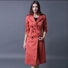 Red black 2017 fashion slim double breasted trench coat for women overcoat long clothing female casaco sobretudo feminino S- 4XL