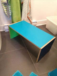 Simple plywood bench for Kids bathroom
