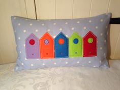 Beautiful beach hut cushion made by me :)