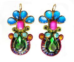 £65 #earrings #embroidery #Swarovski #tropical #emerald #pink #blue #pacific #opal #soutache #sutasz #blackmarketjewels