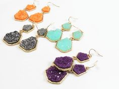 Geometric Turquoise Druzy Geode Agate Stone Drop Earrings Coral, Turquoise, Amethyst, and Silver