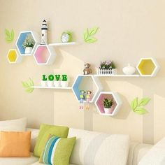 Wooden Wall Decor Modern Village Colored Hexagon Frame Wall Shelf Hanging Organizer Christmas Wall Decorations For Home Living - decorations for home - decorative decorative - decor for wall - AliExpress Wooden Wall Decor Modern Village . Wooden Wall Decor, Room Wall Decor, Bedroom Decor, Kids Wall Decor, Playroom Ideas, Wall Decor Crafts, Oak Bedroom, Kids Bedroom Designs, Kids Room Design