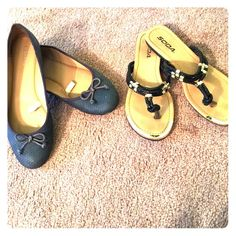 Set of flats and flip flops size 7.5 Pre-owned set of navy blue flats and black flip flops. Both size 7.5. Shoes Flats & Loafers