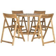 Safavieh Kerman Teak Finish Brown Acacia Wood 5-piece Outdoor Dining Table Set | Overstock.com Shopping - Big Discounts on Safavieh Sofas, Chairs