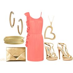 """Gold and Peach"" by coombsie24 on Polyvore"