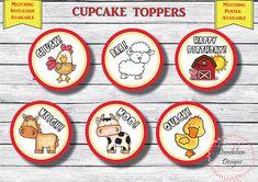barnyard cupcake topper, Farm birthday, farm party decorations, barnyard thank you tag, cupcake deco Rustic Birthday, Farm Birthday, Special Birthday, Birthday Parties, Barnyard Cupcakes, Birthday Cupcakes, Farm Party Decorations, Chalkboard Designs, Cupcake Toppers
