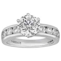 Tiffany & Co. 1.71 Carat Diamond Platinum Engagement Ring | From a unique collection of vintage engagement rings at https://www.1stdibs.com/jewelry/rings/engagement-rings/