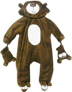 Baby Bear Microplush Snowsuit for Infants 3-6 Months. Baby snowsuit with mittens and a hood. Snow suit with closed feet. Our baby boy snowsuit with a hood will be one of the favorite baby winter clothes for your baby boy. One of the cutest snow suits with BEAR theme and embroidery on hood, mittens, and feet. Brown micro plush is so soft and warm, great as baby winter clothes, winter wear, winter gear.