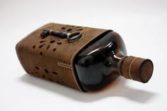 Transilvanian Souvenir, Dracula Leather Cased Bottle, Genuine Leather Cased Bottle, Handmade Bottle case, made to order Bottle Case
