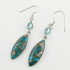 Blue Topaz & Copper Turquoise Sterling Silver Earrings