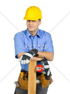 construction worker - Construction worker with a carpentry tool