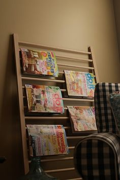 Going to use the leftover side of the crib to make this magazine rack.