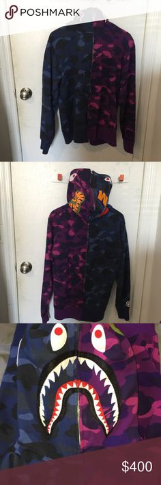 BAPE MULTICOLOR SHARK HOODIE SZ XL Worn ONCE for pictures Bought a while ago, no tags or dustbag 100% AUTHENTIC  SZ XL  NO TRADES Bape Shirts Sweatshirts & Hoodies