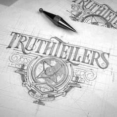 Amazing logo & lettering work by Tomasz Biernat Hand Drawn Type, Hand Drawn Lettering, Types Of Lettering, Graffiti Lettering, Vintage Typography, Lettering Design, Logo Design, Type Design, Vintage Graphic