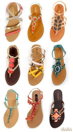 sandals! Love the blue one in the center row, on the right.