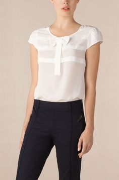 white silk bow blouse tucked into tailored trousers....love love love LOOOVE how simple and feminine this is