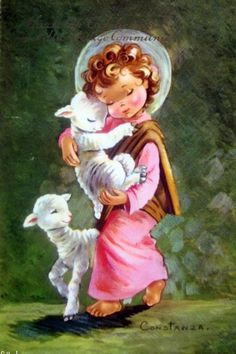I feel cuddly soft LOVE, the bright pop of white and pink against that dark background, the depth, the halo, the safe feeling that love brings. Vintage Christmas Cards, Christmas Art, Vintage Cards, Vintage Postcards, Vintage Images, Jesus Childhood, Christ The Good Shepherd, Pictures Of Christ, Vintage Easter