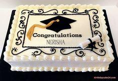 Congratulation Graduation Cake With Name Edit Graduation Party Planning, College Graduation Parties, Graduation Diy, Graduation Celebration, Graduation Cake Designs, Graduation Cupcakes, Graduation Decorations, Online Birthday Cake, Costco Cake