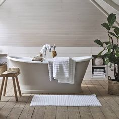 """The White Company on Instagram: """"Sundays are for self-care. Why not run yourself a long, hot bath and take time to truly relax? Tap to shop #thewhitecompany"""" The White Company, Cast Iron Bath, Bathroom Interior, Bathroom Ideas, Clawfoot Bathtub, My House, Interior Decorating, Relax, Instagram"""