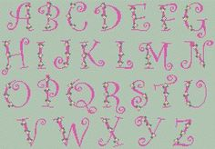 Small roses alphabet - free cross stitch pattern