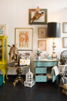 Inside the Bell Jar in S.F. Bird cage. Painted furniture. Home decor ideas.