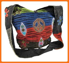 Things2die4 Cotton Womens Hobo Handbags Z-Code-187 Cheerful Razor Cut Hobo Sling Bag With Peace Sign Applique - Black - Shoulder bags (*Amazon Partner-Link)